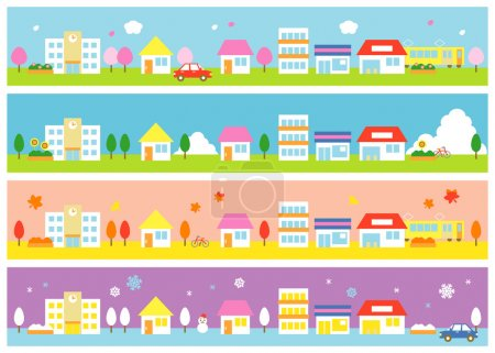 Illustration for Stores and houses on a street, four seasons, vector file - Royalty Free Image