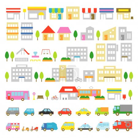 Town icon stores houses vehicles