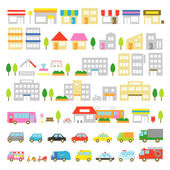 Town icon stores and houses vehicles vector file