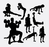 Training exercise sport male and female silhouette