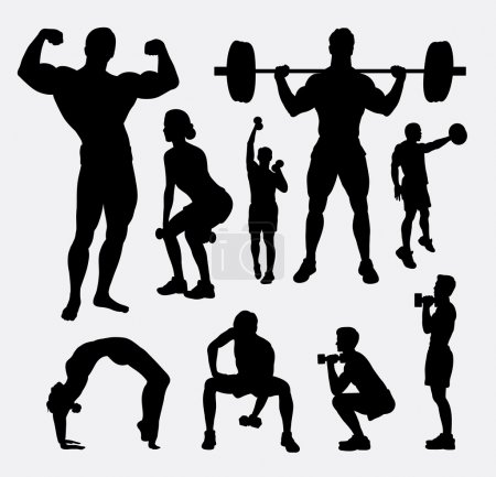 Body builder male and female sport silhouette