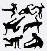 Parkour and martial art silhouette