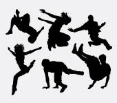 Parkour and dancer silhouette