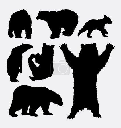 Illustration pour Ours animal sauvage silhouette 2. Bon usage pour le symbole, logo, icône web, mascotte, signe, autocollant, ou tout design que vous voulez. Facile à utiliser . - image libre de droit