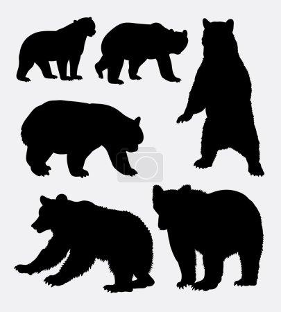 Illustration pour Ours silhouette animale sauvage 6. Bon usage pour le symbole, logo, icône web, mascotte, signe, autocollant, ou tout design que vous voulez. Facile à utiliser . - image libre de droit
