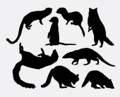 Mongoose and racoon cute mammal silhouette