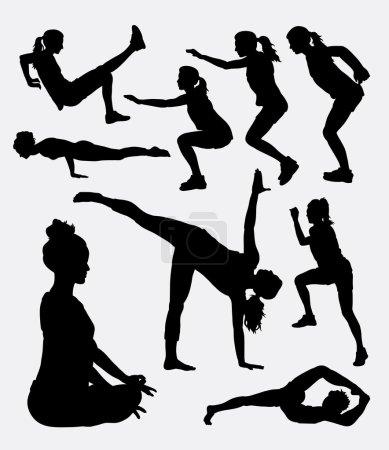 Illustration pour Silhouette d'activité sportive féminine d'entraînement. Bon usage pour le symbole, logo, icône web, mascotte, signe, autocollant, ou tout design que vous voulez. Facile à utiliser . - image libre de droit