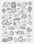 Set of fruits and vegetables hand drawing icons