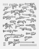 Set of gun icons hand drawing style Good use for your website icons game illustration or elements sticker or any design you want Easy to use edit or change color