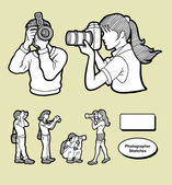 Photographer activity sketches hand drawing style Good use for your illustration website icon logo sticker mascot or any design you want Easy to use Each object is a group