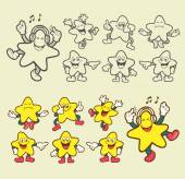 Smiley star cartoon character icons illustration