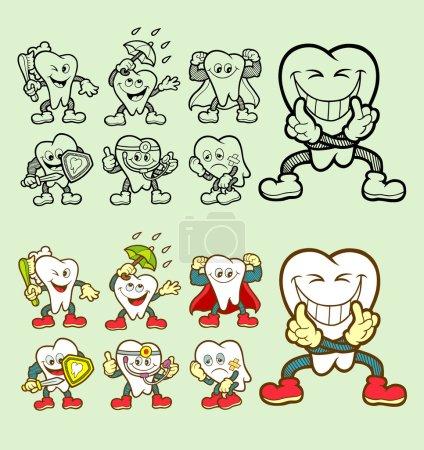Illustration pour Beau, lisse et détail, Ensemble d'icônes de personnage de dessin animé dentaire avec son expression. Bonne utilisation pour votre icône de site Web, symbole de dentiste, logo de dent saine, mascotte, ou tout design que vous voulez. Facile à utiliser, modifier ou changer de couleur . - image libre de droit