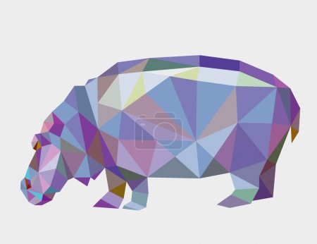 Illustration for Hippopotamus animal triangle low polygon style. Nice and clean vector. Good use for your symbol, mascot, website icon, avatar, sticker, or any design you want. Easy to use. - Royalty Free Image