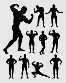 Male bodybuilder with beautiful muscular body silhouettes Good use for t-shirt symbol gym design web icon logo or any design you want Easy to use