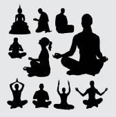 Meditation people silhouettes