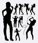 Singer male and female people silhouettes