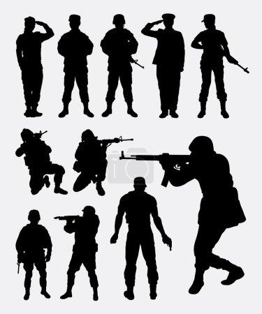 Illustration pour Soldat militaires profession silhouettes. Bon usage pour le symbole, icônes web, logo, mascotte, ou tout design que vous voulez. Facile à utiliser . - image libre de droit