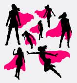 Female superhero silhouettes Good use for symbol web icons logo mascot or any design you want Easy to use