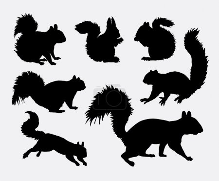 Illustration for Squirrel animal silhouettes. Good use for symbol, web icons, logo, mascot, or any design you want. Easy to use. - Royalty Free Image