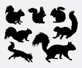 Squirrel animal silhouettes