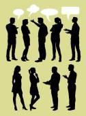 People talking with speech bubbles silhouette