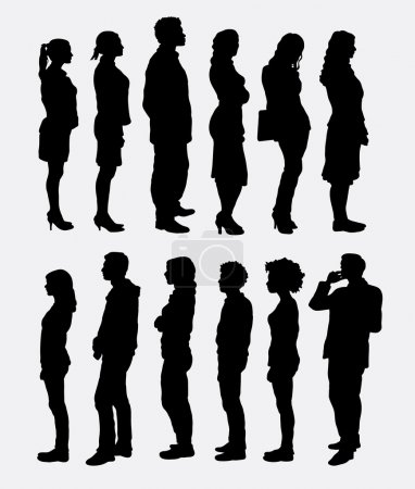 Illustration for People, male and female, standing queue silhouettes. Good use for symbol, web icons, logo, mascot, or any design you want. Easy to use. - Royalty Free Image