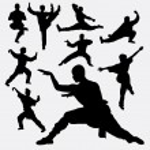 Wushu male and female martial art silhouettes. Goo...
