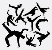 Capoeira sport dance silhouettes Male and female sport dance silhouettes