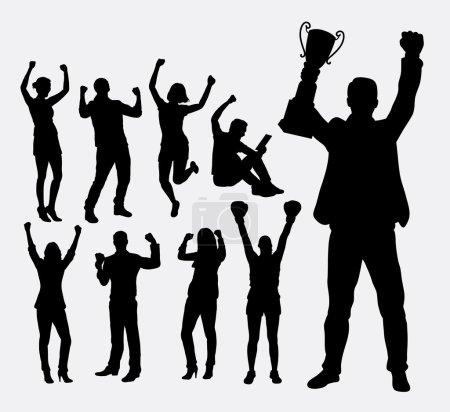 Illustration pour Des silhouettes gagnantes et championnes. Bon usage pour le symbole, logo, icône web, mascotte, ou tout design que vous voulez. Facile à utiliser . - image libre de droit