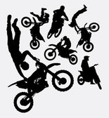 Motocross sport silhouettes