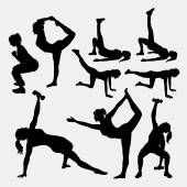 Girl fitness sport silhouettes Good use for symbol logo web icon mascot avatar or any design you want Easy to use