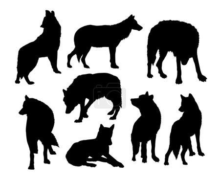 Illustration pour Des silhouettes de loups sauvages. Bon usage pour le symbole, icône web, logo, mascotte, ou tout design que vous voulez. Facile à utiliser ou changer de couleur . - image libre de droit