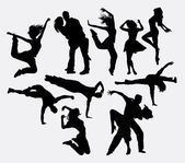 Dancing male female and couple silhouettes Good use for symbol logo web icons or any design you want