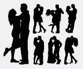 Couple loving people silhouettes
