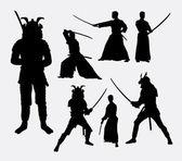 Samurai male japanese warrior silhouettes