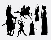 Samurai warrior male and female silhouettes