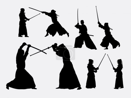 Kendo japanese sport silhouettes. Good use for sym...
