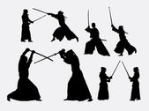 Kendo japanese sport silhouettes