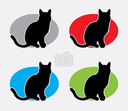 Illustration pour Logo mignon de silhouette de chat. Bon usage pour votre symbole, logo, icône web, ou tout design que vous voulez. Facile à utiliser . - image libre de droit