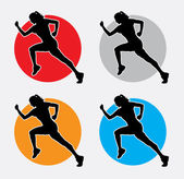 Running woman silhouette logo