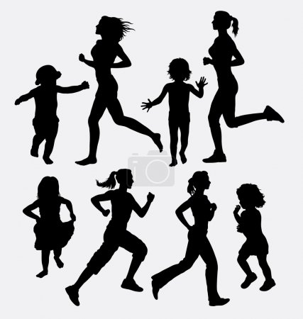 Girl and children running silhouettes