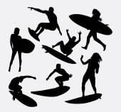 surfer male and female sport activity silhouettes