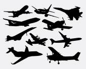 Airplane transportation silhouettes