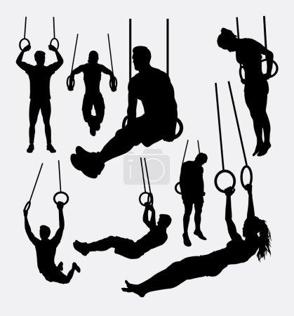 Illustration pour Anneaux d'entraînement silhouettes sportives masculines et féminines. Bon usage pour le symbole, logo, icône web, éléments de jeu, mascotte, ou tout design que vous voulez. Facile à utiliser - image libre de droit