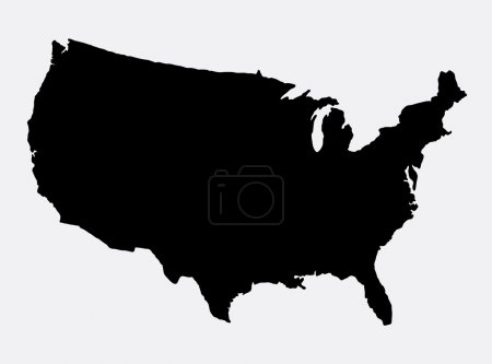 The United States of America map island silhouette