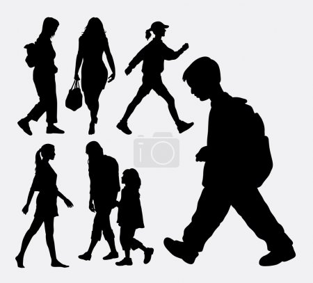 Walking people action silhouette