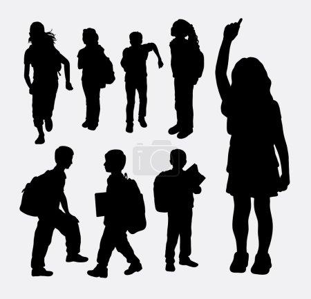 School girl and school boy activity silhouette