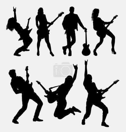 Illustration pour Silhouette de guitariste masculin et féminin. Bon usage pour le symbole, icône web, logo, élément de jeu, mascotte, ou tout design que vous voulez. Facile à utiliser - image libre de droit