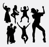 Dancer pose male female and kid silhouette