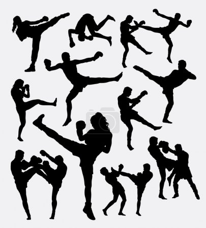 Muay Thai kick boxing fighter silhouettes